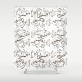 I'm a little Crappie, Funny Fish Illustration Shower Curtain