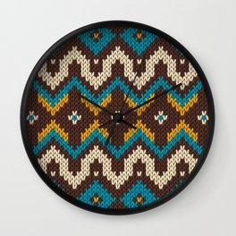 Modern knitted fair isle ethnic style Wall Clock