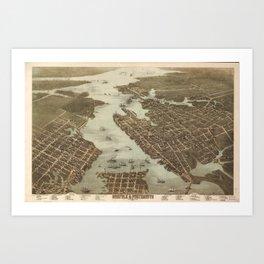 Vintage Map of Norfolk and Portsmouth VA (1873) Art Print