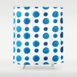 Watercolor blue dots Shower Curtain
