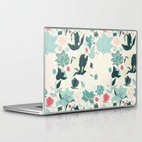 oriental Laptop & iPad Skins featuring Oriental Flora by Azulblau