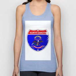 North Dakota Flag Icons As Interstate Sign Unisex Tank Top