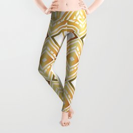 1920s Vintage Fashion White and Champagne Gold Art Deco Pattern Leggings