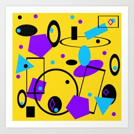 Retro abstract print yellow Art Print