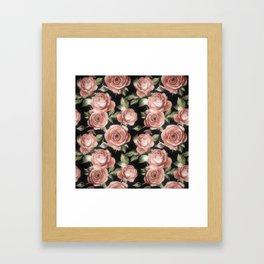 Classic Pink Roses On Black Framed Art Print