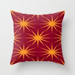 Mid-Century Modern Art Starburst 2.4 Orange Burgundy Throw Pillow