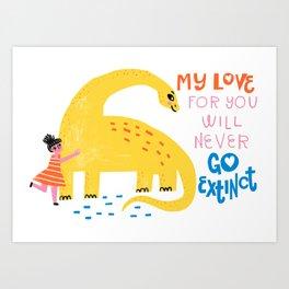 Dinosaur Love Art Print