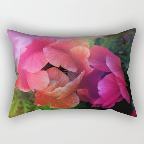 Summer garden with Anemones Rectangular Pillow
