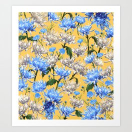 Mums Pattern  |  Yellow-Blue-Cream-White Art Print