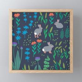 Cottontail Rabbits: Dark Framed Mini Art Print