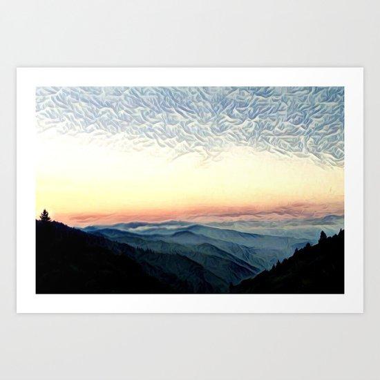 Pastel Sunset over Mountains (Hipster Landscape) Art Print