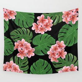 Tropical Floral Print Black Wall Tapestry
