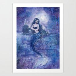 Moonlight Mermaid Art Print