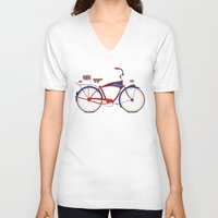british flag V-neck T-shirts featuring British Bicycle by Wyatt Design