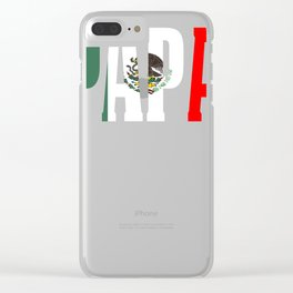 Papa Gift Mexican Design For Mexican Flag Design Pride Vintage Flag Clear iPhone Case
