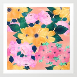 Cute Colorful Romantic Watercolor Flowers Art Print