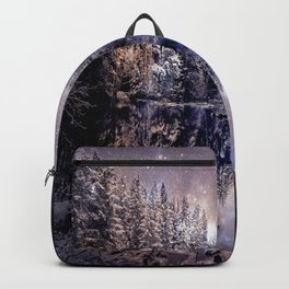 A Cold Winter's Night Neutral Beige Navy Blue Backpack