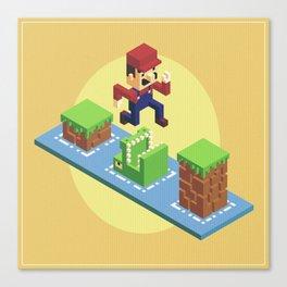 Isometric Mario voxel art Canvas Print