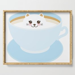 Cute Kawai cat in blue cup Serving Tray