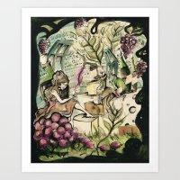 Cheese and Wine. Art Print