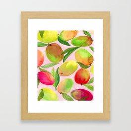 Mango Watercolor Painting Framed Art Print
