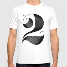 No. 2 White Mens Fitted Tee MEDIUM