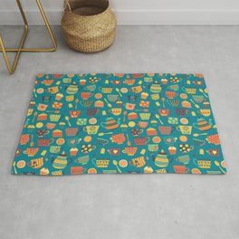 Vintage tea party - tea cups and sweets - teal Rug