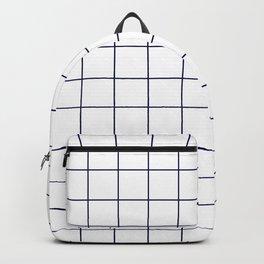 Grid Pattern White Navy Blue RGB68 Stripe Line Minimal Stripes Lines Spring Summer Backpack