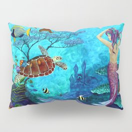 A Fish of a Different Color - Mermaid and seaturtle Pillow Sham