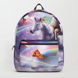 Laser Eyes Space Cat On Llama Unicorn - Rainbow Backpack