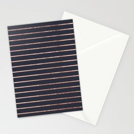 Elegant Chic Rose Gold Stripes and Navy Blue Stationery Cards