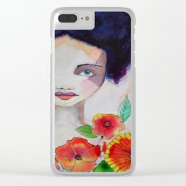 Blue Haired Whimsical Girl Colorful Flowers Clear iPhone Case