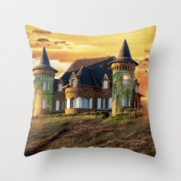 Gorgeous Fantasy Mansion In Coutryside Water Well Owl Ultra HD Throw Pillow