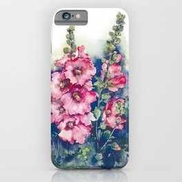 Watercolor Hollyhocks pink flowers iPhone Case