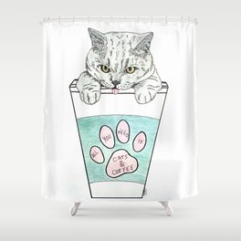 Cats & coffee Shower Curtain