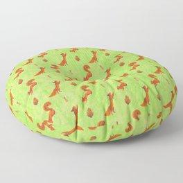 Red Squirrel Pattern Floor Pillow