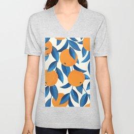 Vintage oranges on a branch with leaves hand drawn illustration pattern Unisex V-Neck