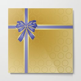 Gift wrapped in blue and gold Metal Print