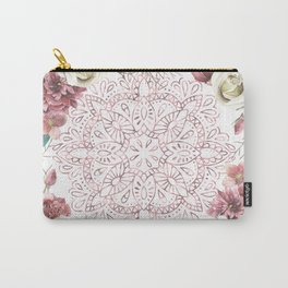 Mandala Garden Roses Warm Rose Gold Carry-All Pouch