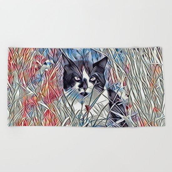 Here Kitty Kitty Beach Towel