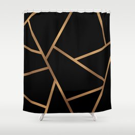Black and Gold Fragments - Geometric Design Shower Curtain