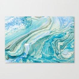 Turquoise Liquid Marble Canvas Print