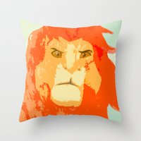 simba Throw Pillows featuring Simba by Makayla Wilkerson