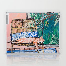 Napping Ginger Cat in Pink Jungle Garden Room Laptop & iPad Skin