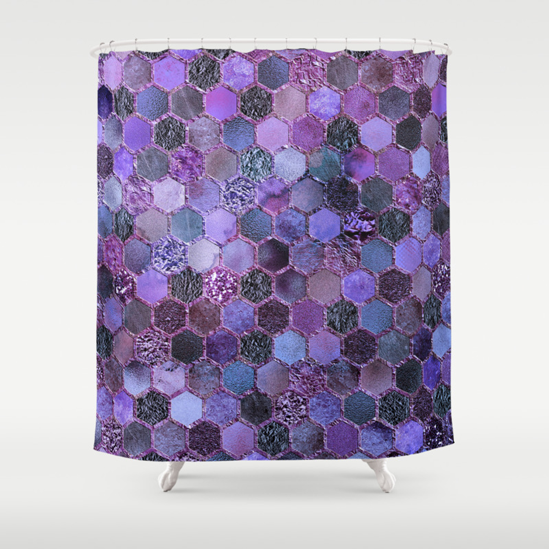 Purple Geometric Hexagonal Elegant Luxury Pattern Shower Curtain