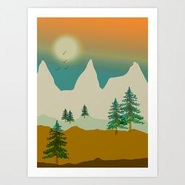 Mountain landscape in green Art Print