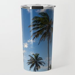 Numerous palm trees pointing to the sky during sunset Travel Mug