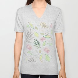 Simple and stylized flowers Unisex V-Neck