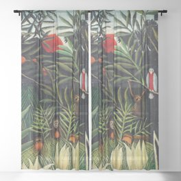 Henri Rousseau - Monkeys and Parrot in the Virgin Forest Sheer Curtain