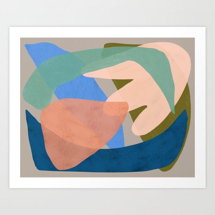 Shapes and Layers no.30 - Large Organic Shapes Blue Pink Green Gray Art Print